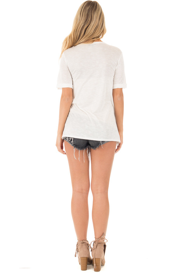 Ivory Two Tone Tunic with Lace Up Sides and Cuffed Sleeves back full body