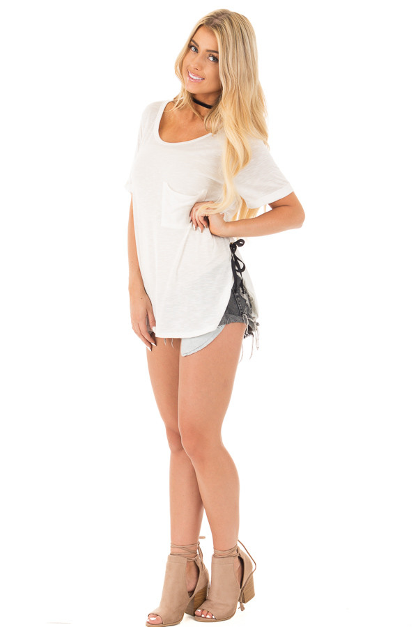 Ivory Two Tone Tunic with Lace Up Sides and Cuffed Sleeves front full body