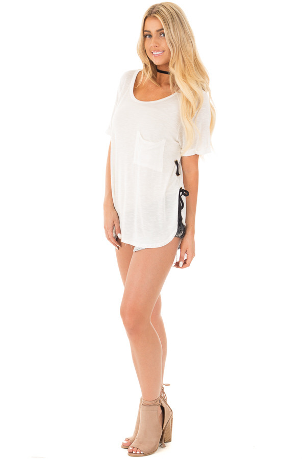 Ivory Two Tone Tunic with Lace Up Sides and Cuffed Sleeves side full body