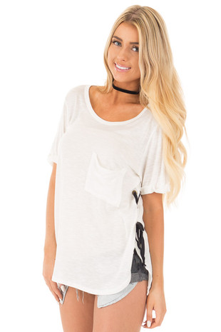 Ivory Two Tone Tunic with Lace Up Sides and Cuffed Sleeves front close up