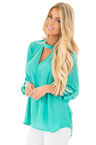 Jade 3/4 Sleeve with Choker Cut Out V-Neck Top front close up