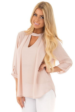 Blush 3/4 Sleeve with Choker Cut Out V-Neck Top front close up