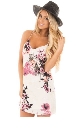 Ivory Spaghetti Strap Loose Fit Floral Dress front close up