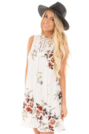 Off White Floral Sleeveless Dress with High Crochet Detail front close up