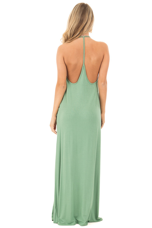 Leaf Green Maxi Tank Dress with T Strap Open Back Detail back full body