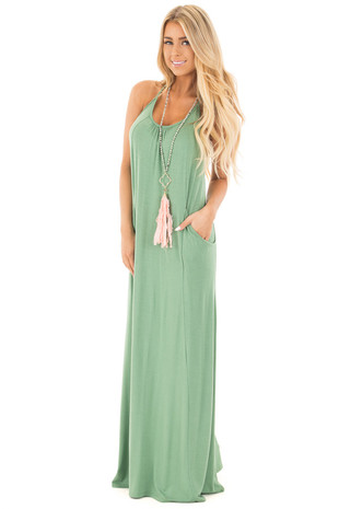 Leaf Green Maxi Tank Dress with T Strap Open Back Detail front full body