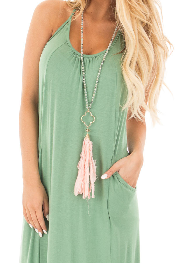 Leaf Green Maxi Tank Dress with T Strap Open Back Detail detail