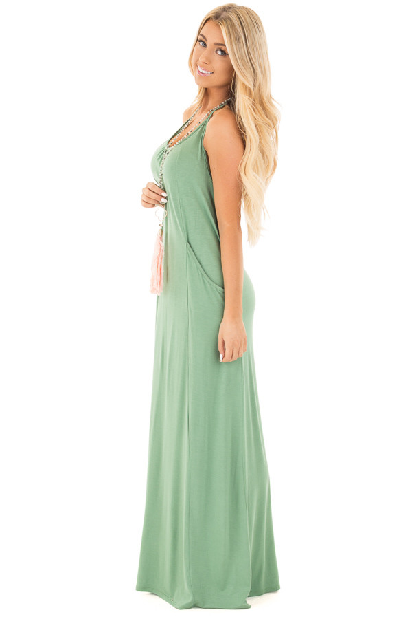 Leaf Green Maxi Tank Dress with T Strap Open Back Detail side full body