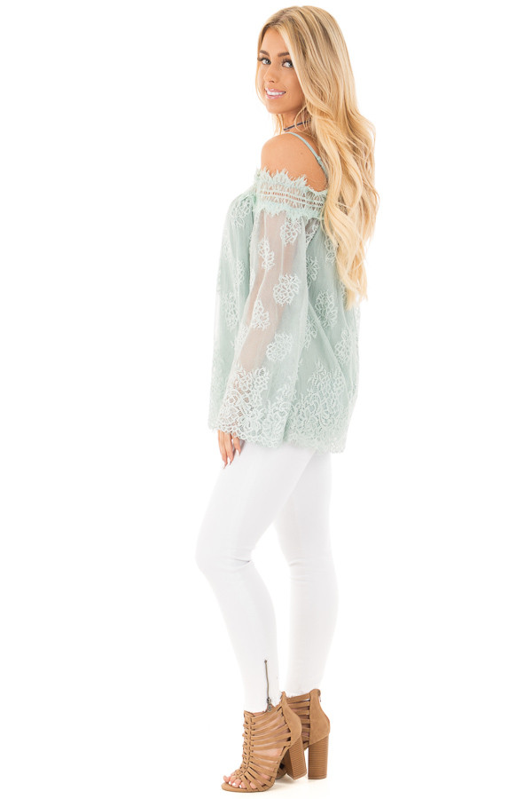 Dusty Mint Floral Lace Off Shoulder Top with Shoulder Straps side full body
