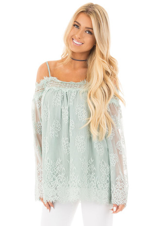 Dusty Mint Floral Lace Off Shoulder Top with Shoulder Straps front close up