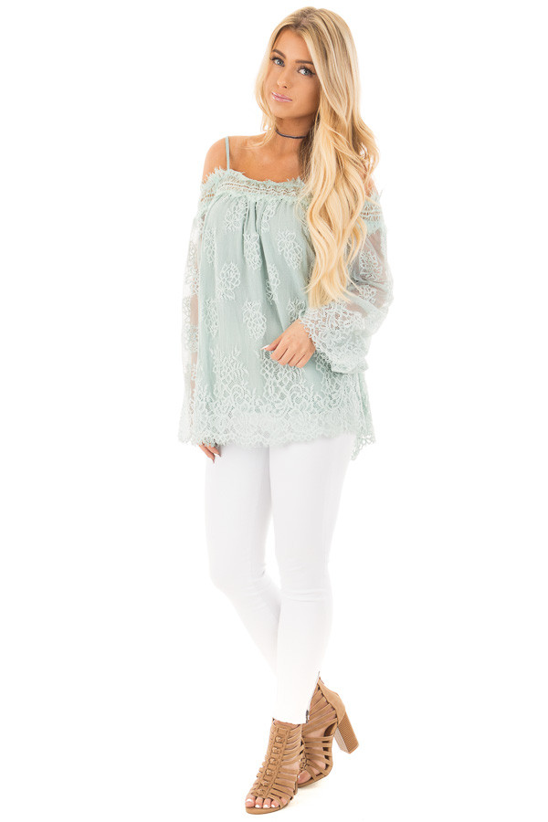 Dusty Mint Floral Lace Off Shoulder Top with Shoulder Straps front full body