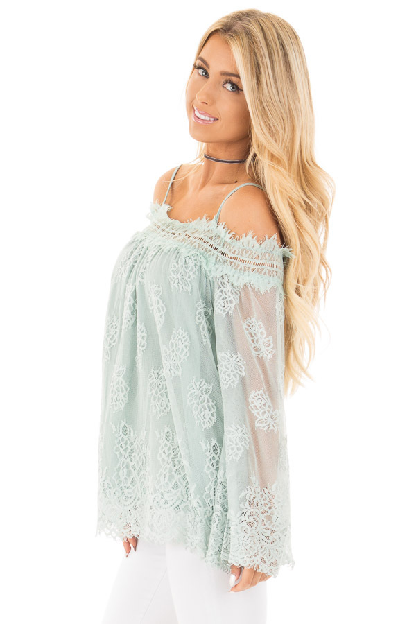 Dusty Mint Floral Lace Off Shoulder Top with Shoulder Straps side close up