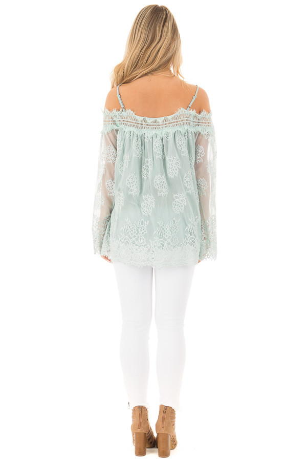 Dusty Mint Floral Lace Off Shoulder Top with Shoulder Straps back full body