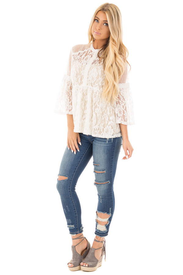 Ivory Sheer Lace Baby Doll Top with Bell Sleeves front full body