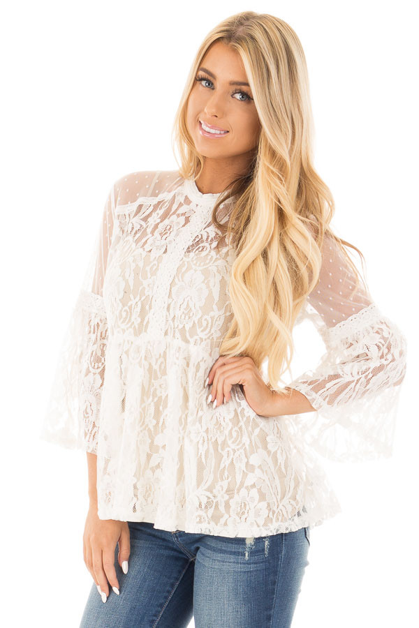 Ivory Sheer Lace Baby Doll Top with Bell Sleeves front close up