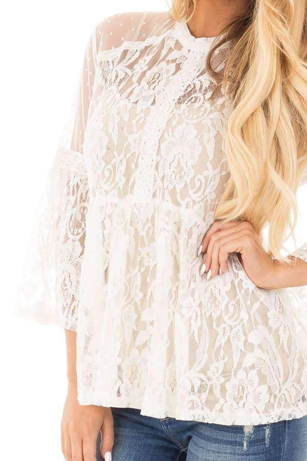 Ivory Sheer Lace Baby Doll Top with Bell Sleeves detail