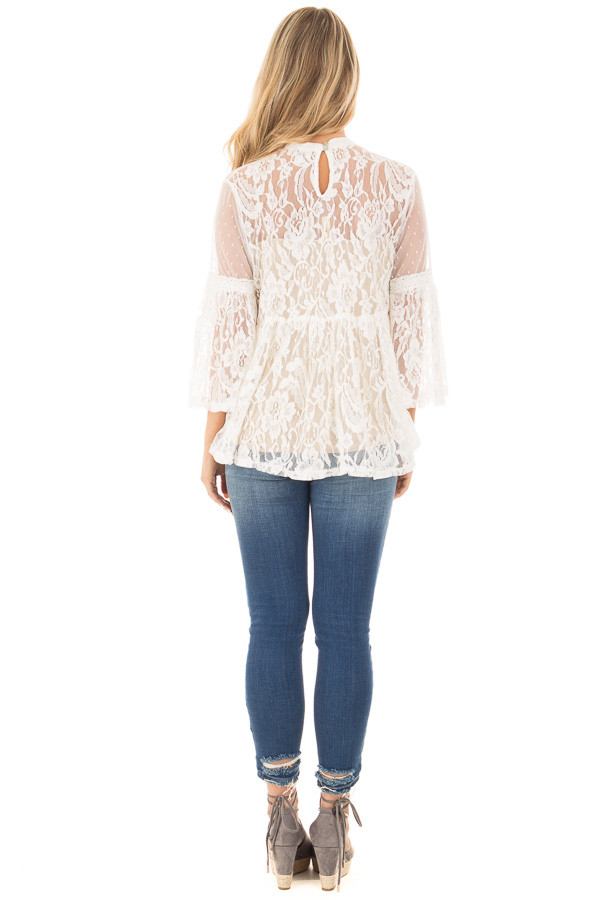 Ivory Sheer Lace Baby Doll Top with Bell Sleeves back full body