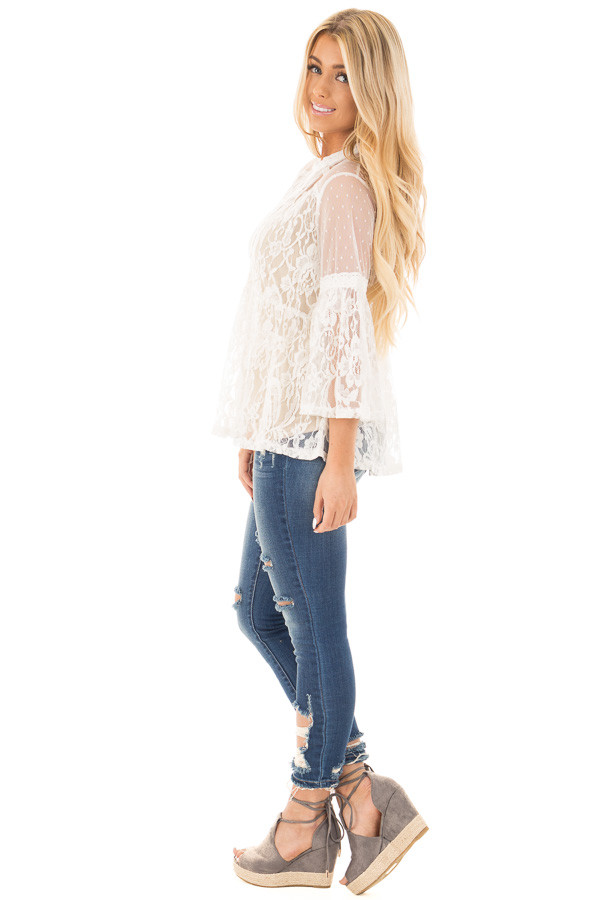 Ivory Sheer Lace Baby Doll Top with Bell Sleeves side full body