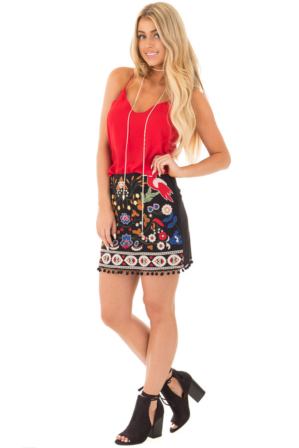 Black High Waisted Embroidered Mini Skirt with Pom Pom Trim front full body