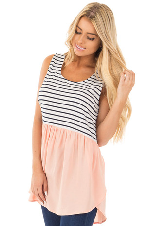 Blush Baby Doll Tunic Top with Striped Contrast front close up