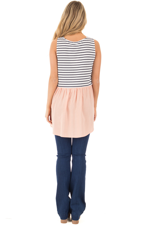 Blush Baby Doll Tunic Top with Striped Contrast back full body