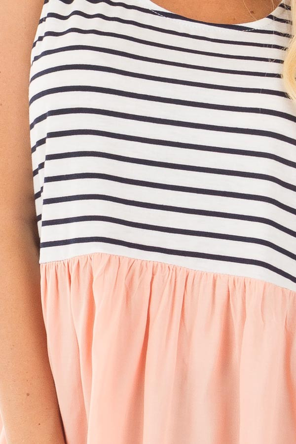 Blush Baby Doll Tunic Top with Striped Contrast detail