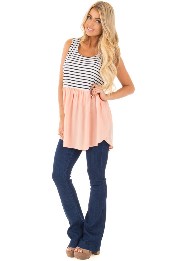 Blush Baby Doll Tunic Top with Striped Contrast front full body