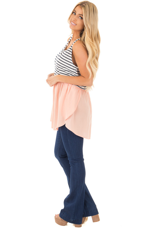 Blush Baby Doll Tunic Top with Striped Contrast side full body