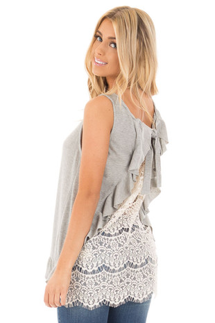 Heather Grey Ribbed Tank with Ivory Crochet Back back side close up