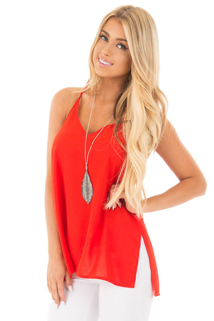 Poppy Red Chiffon V Neck Tank with Side Slits front close up