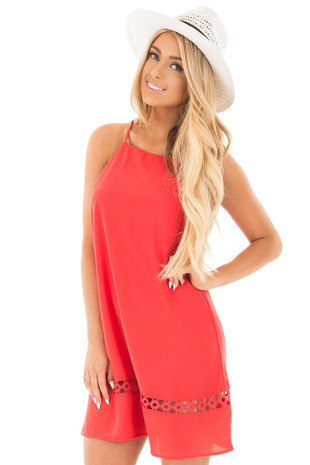 Vermilion Halter Neck Dress with Crochet Cut Out Detail front close up