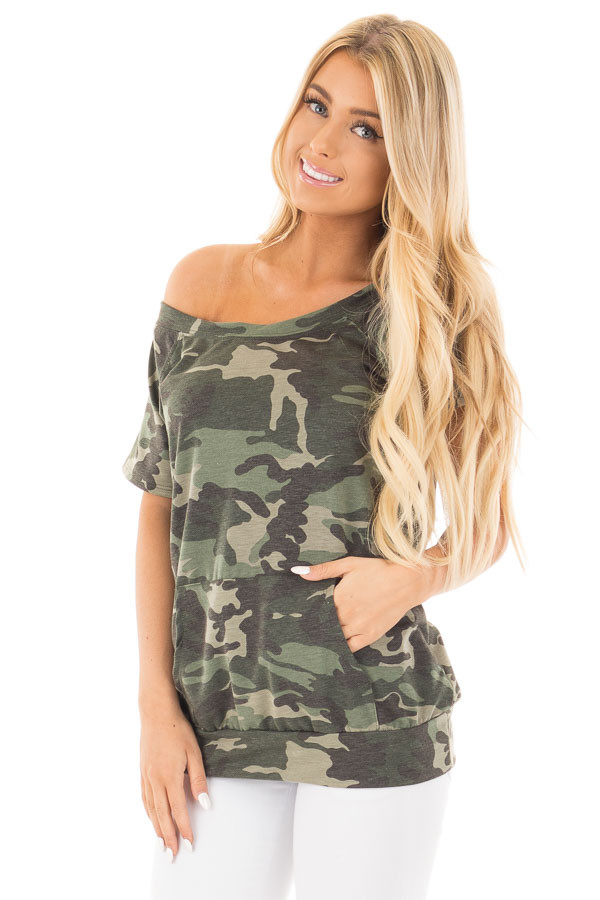 Camouflage Knit Boatneck Tee with Front Pocket Detail front close up