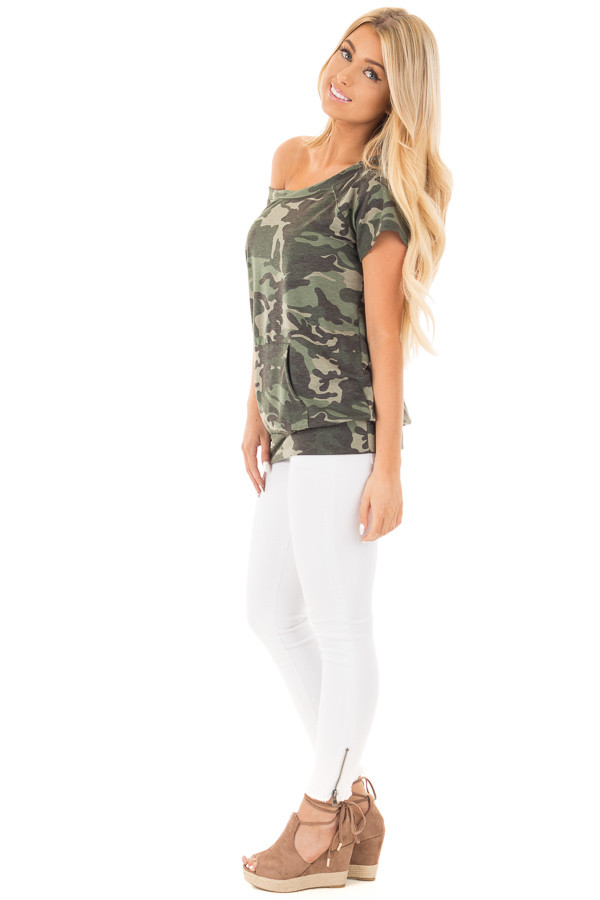Camouflage Knit Boatneck Tee with Front Pocket Detail side full body