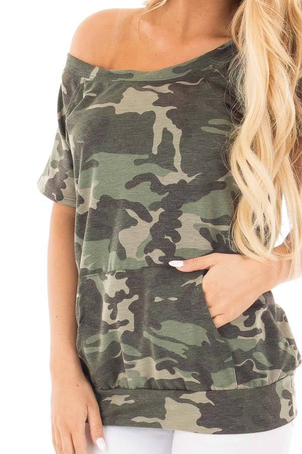 Camouflage Knit Boatneck Tee with Front Pocket Detail detail