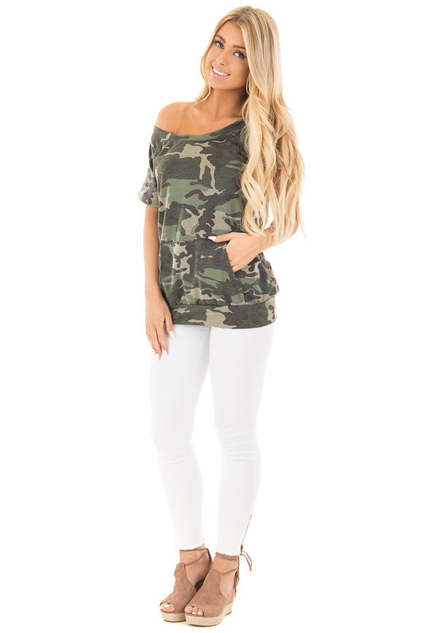 Camouflage Knit Boatneck Tee with Front Pocket Detail front full body