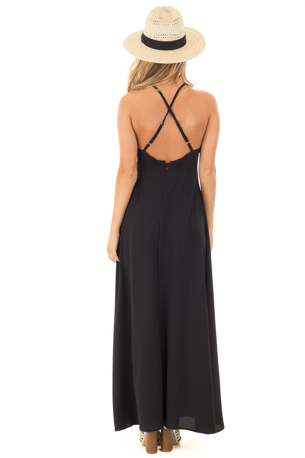 Black Embroidered Halter Maxi Dress with Split Front Detail back full body