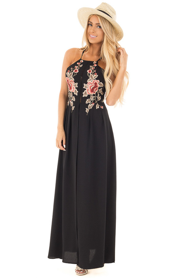 Black Embroidery Halter Maxi Dress with Split Front Detail | Lime Lush