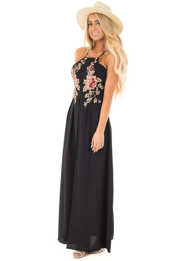 Black Embroidered Halter Maxi Dress with Split Front Detail front full body