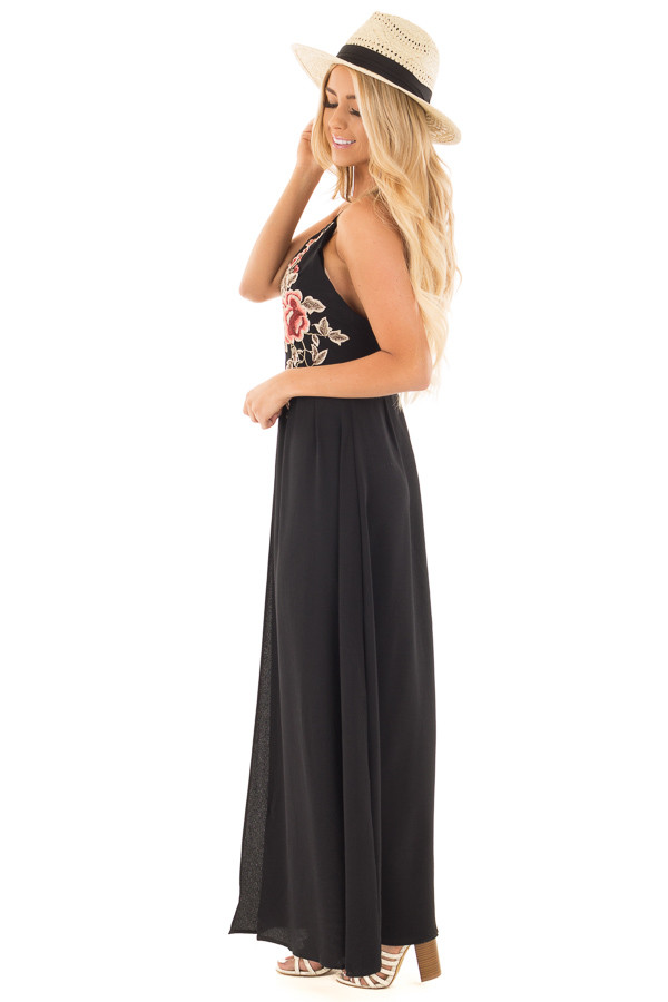 Black Embroidered Halter Maxi Dress with Split Front Detail side full body