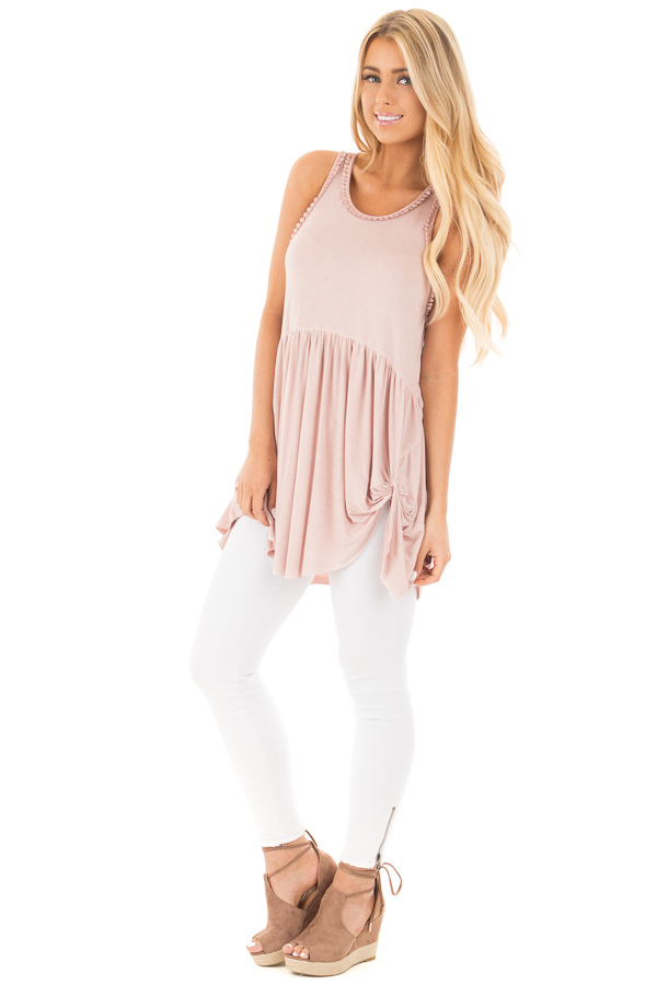 Mauve Washed Tank with Trim and Twist Details front full body