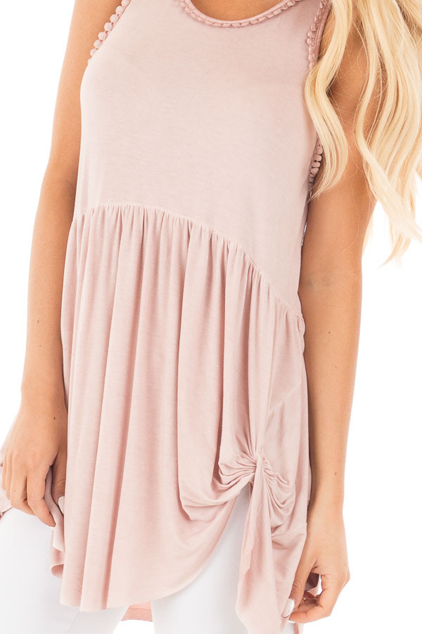 Mauve Washed Tank with Trim and Twist Details detail