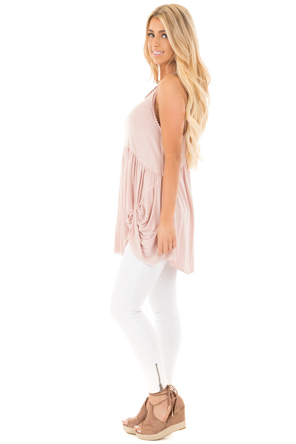 Mauve Washed Tank with Trim and Twist Details side full body