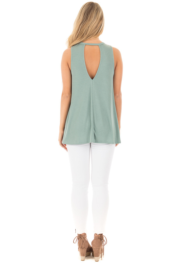 Dusty Sage Ribbed Tank Top with Key Hole Details back full body