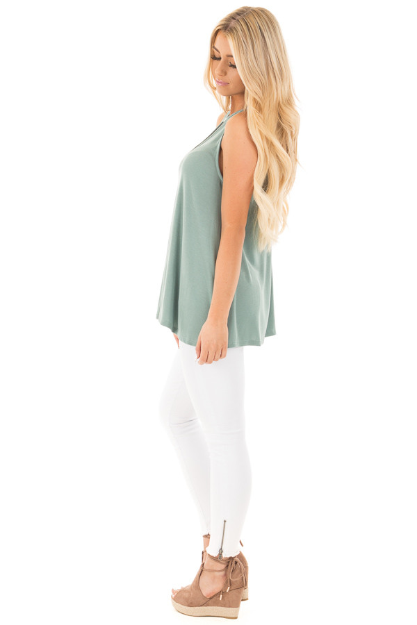 Dusty Sage Ribbed Tank Top with Key Hole Details side full body