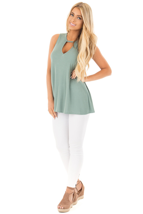 Dusty Sage Ribbed Tank Top with Key Hole Details front full body