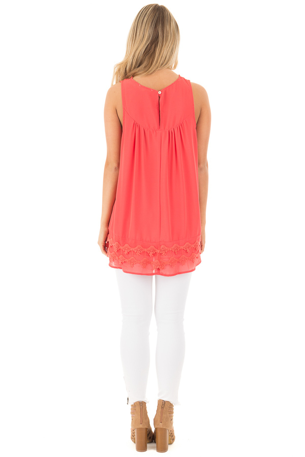 Coral Sleeveless Chiffon Top with Crochet Details back full body