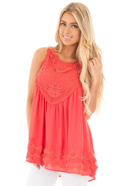 Coral Sleeveless Chiffon Top with Crochet Details front close up