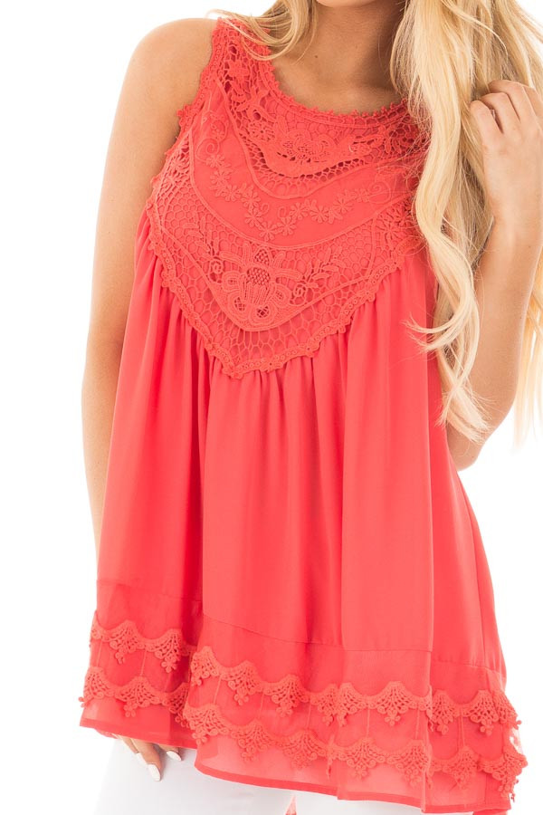 Coral Sleeveless Chiffon Top with Crochet Details detail