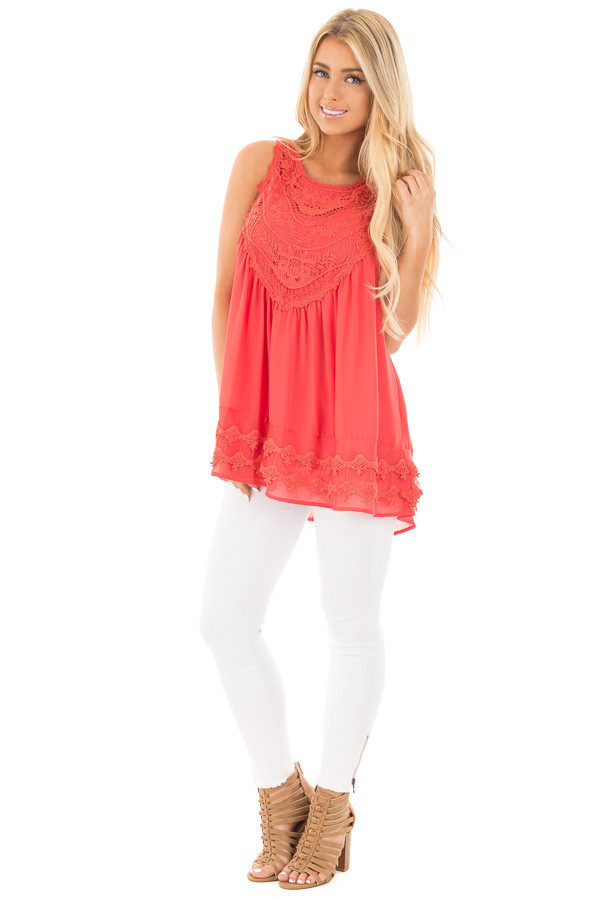 Coral Sleeveless Chiffon Top with Crochet Details front full body