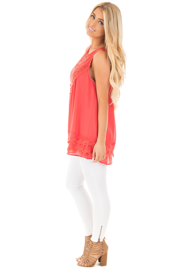 Coral Sleeveless Chiffon Top with Crochet Details side full body